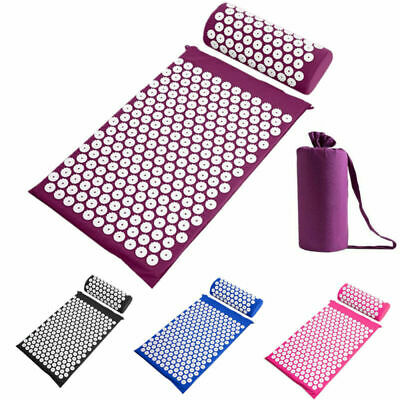 1set Acupressure Mat With Pillow Relief Stress Pad Portable Mat With Carry Bag