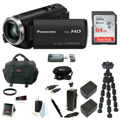 Panasonic V180 Full HD 1080p Camcorder with 64GB Card, Batteries and Charger Kit