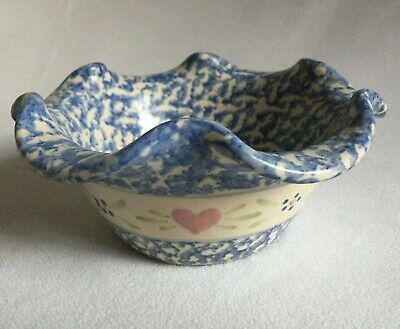 East Texas Pottery Scalloped Edge Mottled Bowl Pink Hearts Blue Flowers