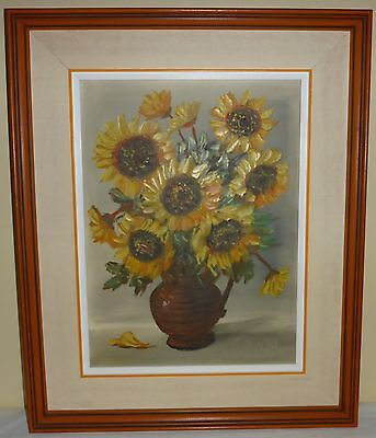 "Vintage Framed Oil On Canvas Signed Leo Ritter - Sunflowers - 22"" X 18"""