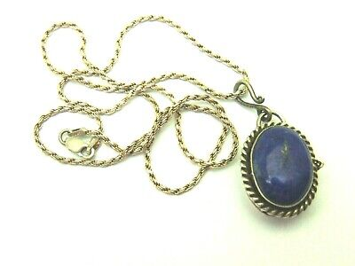 Old Egyptian Locket Lapis Necklace Sterling Silver Ornate Pill Poison Box Signed