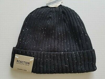 Kenneth Cole Reaction Mens Black Winter Hat Sherpa Lined Donegal Beanie NWT