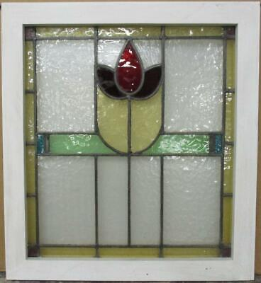 "MIDSIZE OLD ENGLISH LEADED STAINED GLASS WINDOW Bordered Floral 21.25"" x 23.5"""