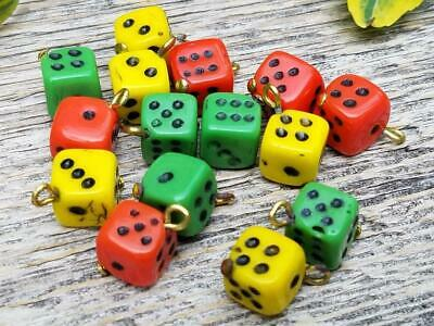 Yellow Green Red Vintage Czech Bohemian Glass Dice Beads Hand Painted Dots
