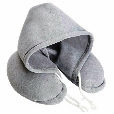 Hooded Pillow Cushion Car Office Airplane Head Rest Neck Support U-Shaped &H