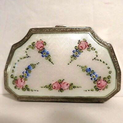 Vintage Antique Guilloche Compact Floral Engine Turned White Pink Green