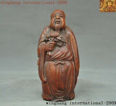 Rare Old China Bamboo root Wood Hand carved Ancient people happy Old man statue