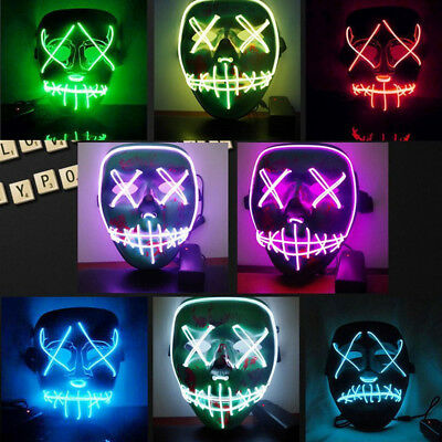 Halloween Scary Mask Cosplay Led Costume Mask EL Wire Light Up Purge Movie JQ