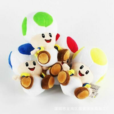 """4PCS Super Mario Brother Green Red Blue Yellow Mushroom Toad 6.5"""" Soft Plush Toy"""