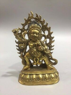 Chinese Antique Tibetan Buddhism old copper-plated multi-armed Buddha