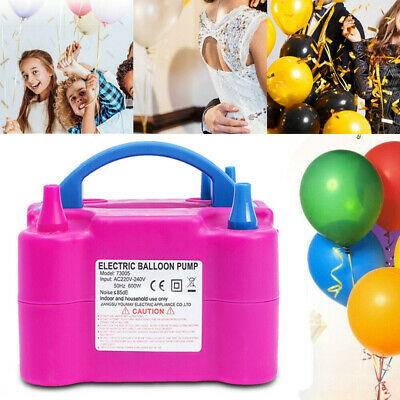 600W Electric Balloon Pump Inflator Air Blower Two Nozzle For Party Portable Set