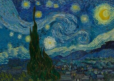The Starry Night, 1889, VAN GOGH, Realism, Post-Impressionism Art Poster