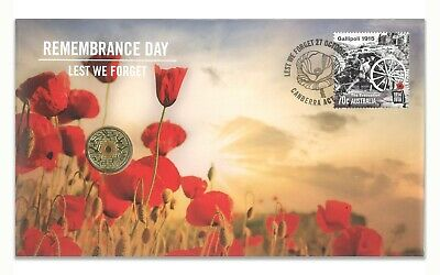 Australia 2015 Remembrance Day Lest We Forget ANZAC $2 Coin & Stamp Cover PNC