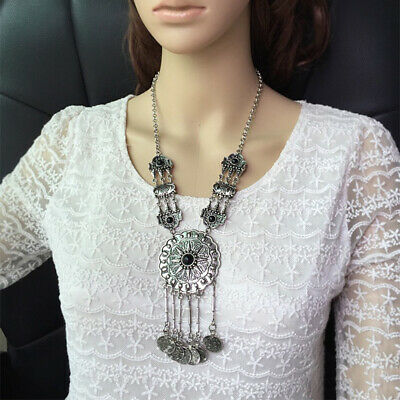 Belly Dance Coin Fringe Necklace Long Bohemian Jewelry Ethnic Women Fashion