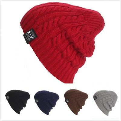 Unisex Knit Hat Outdoor Warm Beanie Hat Soft Acrylic Stretch Chunky Caps CT0