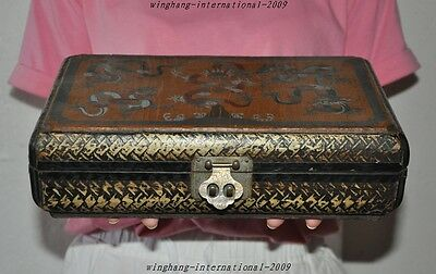 Old China Dynasty Palace Lacquerware Wood 5 Dragon Statue Book Boxes Jewelry box