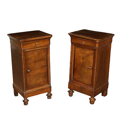 Pair of Nightstands Walnut Italy Mid 19th Century