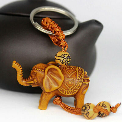 Lucky Elephant Carving Wooden Pendant Keychain Key Chain Ring Evil Defends FI