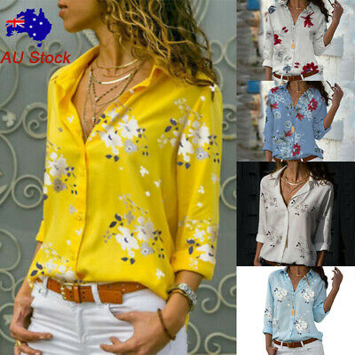 Women Loose Floral V Neck Shirt Ladies Button Rolled Long Sleeve Casual OL Tops