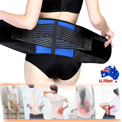 Lumbar Lower Back Support Brace Double Pull Strap Waist Trimmer Belt Pain Relief