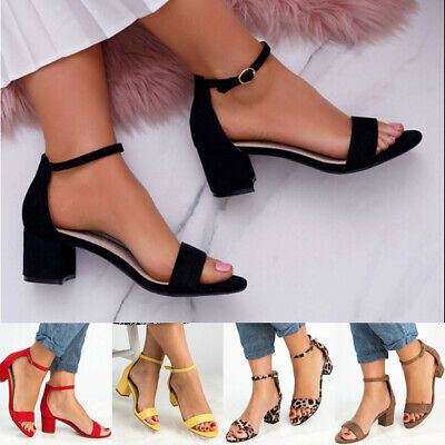 Womens Ankle Strap Mid Block Heel Sandals Ladies Casual Peep Toe Party Shoes