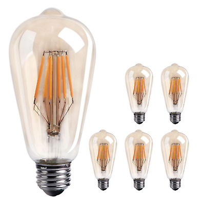 6-Pack Vintage LED Edison Bulbs Dimmable LED Filament Light Bulb, 60W E26 Medium