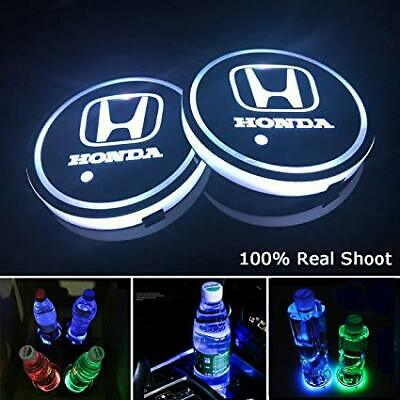 2× Honda LED Car Cup Holder Pad Mat Auto Atmosphere Light Colorful For Honda
