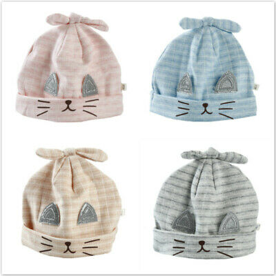 Infants Hats Rabbit Ears Hat Cotton Striped Cap Summer Spring Baby Tire Caps 6A