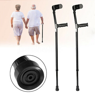 1 Pair Aluminum Alloy Adjustable Walking Aid Forearm Cuff Crutches Elbow Armor