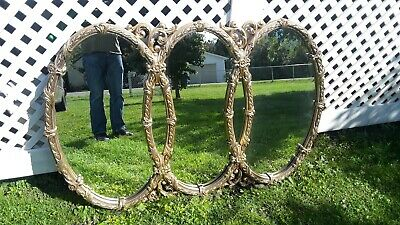 Large Ornate Tri-Oval 65×43 Hollywood Regency Mirror In Nice Condition