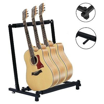 UK 3 Way Multi Guitar Stand Foldable Acoustic Electric Bass Guit