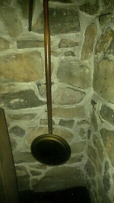 Antique Early America Victorian Bed Warmer Engraved Brass  Wood Handle Hinged