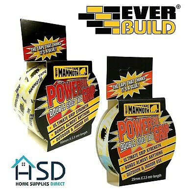 Mammoth Tape Everbuild Powerful Grip Double Sided Carpet Sellotape Adhesive Bond