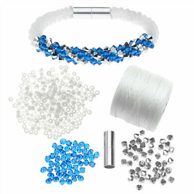 05e1cabc9c Refill - Deluxe Beaded Kumihimo Bracelet-Blue/Silver - Beadaholique Jewelry  Kit
