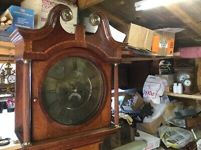 antique    George lll  Round face  eight day grandfather clock