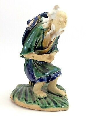 Antique Chinese Mudman Fisherman On Leaf Figurine Clay Painted 193g 4in K217