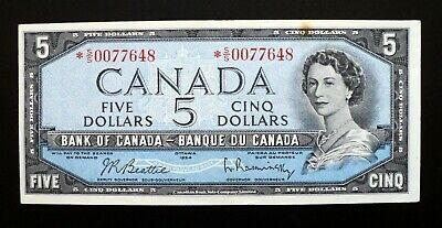 1954 BANK OF CANADA $5 Dollars Replacement Note *S/S 0077648  BC-39bA