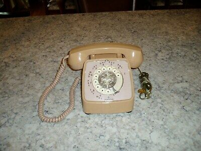 Vintage Rotary Dial GTE Automatic Electric  Beige Telephone Phone  80's