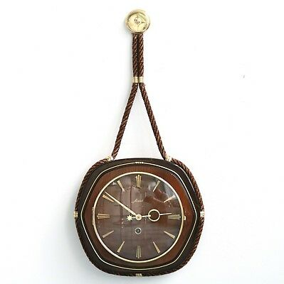 Vintage German HAID HETTICH Wall Clock 1960 Mid Century Nautical HIGH GLOSS WOOD