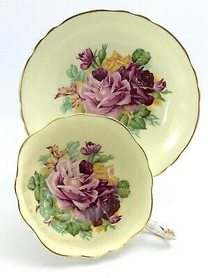 Vintage Paragon Double Warrant Pink Cabbage Roses Tea Cup Saucer Bone China K238