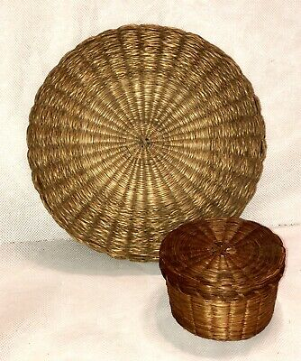 2 ANTIQUE VINTAGE OLD ASIAN WOVEN CHINESE BASKET LIDDED/ SEWING/ WEDDING Lot Red