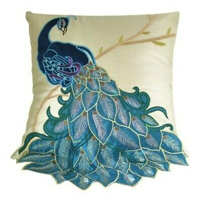 3f9bd42d Bold Blue/Teal, Purple Accented, Embroidered Peacock Pillow on Champagne  Taffeta