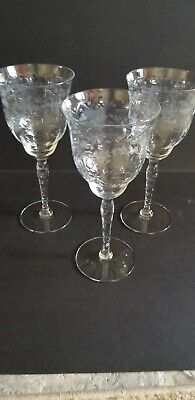 Antique Cut Etched Crystal 3 (three) Tall Stemmed 10oz. Wine Glasses, circa 1920