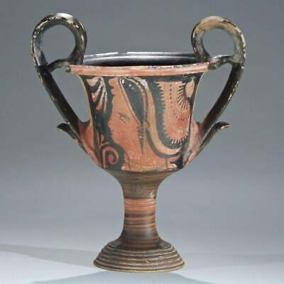 Ancient Apulian Red Figured Kantharos  circa 340-320 BC.  Height 9 3/4 INCHES
