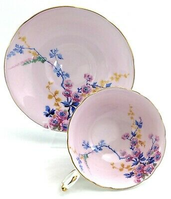 1940s Vintage Paragon Double Warrant Pink Blue Flowers Tea Cup Saucer China K239