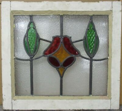 "OLD ENGLISH LEADED STAINED GLASS WINDOW Pretty Sweep Design 18.5"" x 16.75"""
