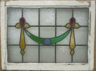 "MIDSIZE OLD ENGLISH LEADED STAINED GLASS WINDOW Pretty Swag Design 28"" x 21"""