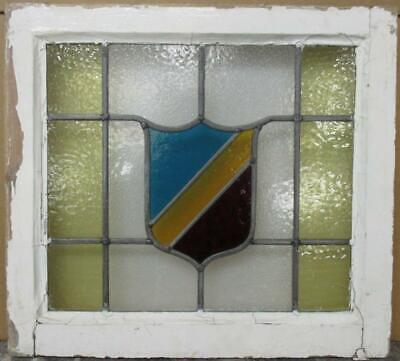 "OLD ENGLISH LEADED STAINED GLASS WINDOW Nice Bordered Shield 20.25"" x 18.5"""