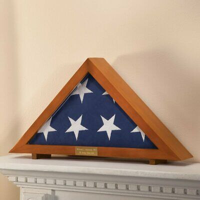 Military Veteran's Memorial Burial Flag Display Case with Personalized Plaque