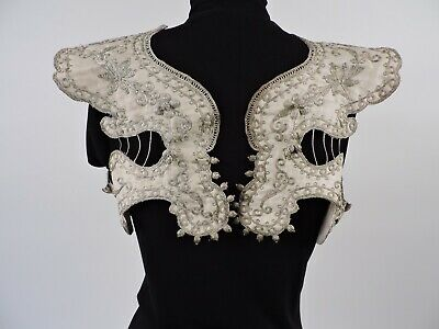 Antique Ethnic 19Thc Silver Metallic Embroidered Silk Sleeve Cuff Pair For Dress